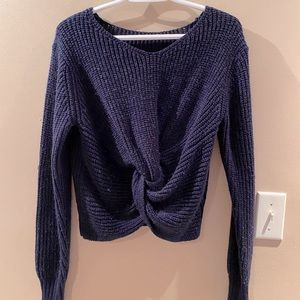 Navy blue knotted crop sweater